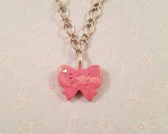 Pink Bow Necklace - Polymer Clay Bow, Silver Tone Chain