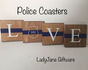 Personalized Coasters - Police - Set of 4