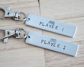 Player 1 Player 2 Keychain Set ~ LIGHT WEIGHT Aluminum~Rectangle Key Chain