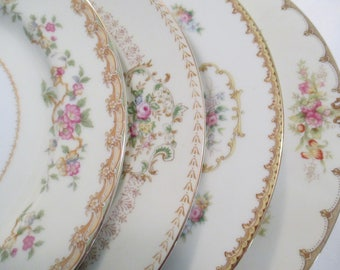 Vintage Mismatched China Dinner Plates for Wedding,Bridal Luncheon,Showers,Hostess Gift,Bridesmaid Gift, Shabby Plates, Chic-Set of 4
