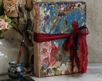 """Victoriana rose wedding guest book   Victorian floral vintage style scrapbook   Floral journal   Made to order 8x6"""""""