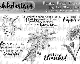 Funky Fall Foliage Digital Stamp Set