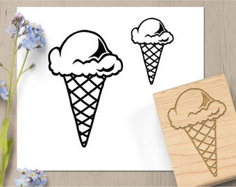 Ice Cream Stamp, Ice Cream Cone Rubber Stamp, Dessert Stamp, Sweet Treat Stamp, Summer Stamp, Ice Cream Scoop Stationary, Summer Card 164