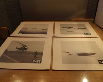 Four Black and White Military Navy Photographs Enlarged