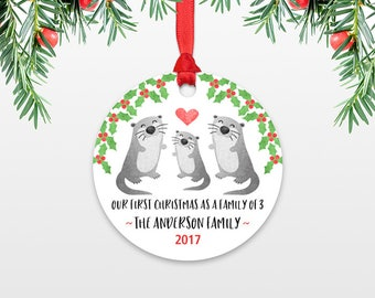 New Baby Christmas Ornaments New Baby Gift Christmas Family Ornament Our First Christmas as a Family of Three 3 Otter Personalized Ornament