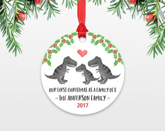 New Baby Christmas Ornament Baby Gift Christmas Family Ornament Our First Christmas Family of Three 3 T-Rex Dinosaur Personalized Ornament