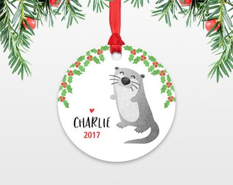 Otter Personalized Kids Christmas Ornament Childs Name Ornament Animal Stocking Stuffer for Women for Men Cute Christmas Gift Exchange Ideas