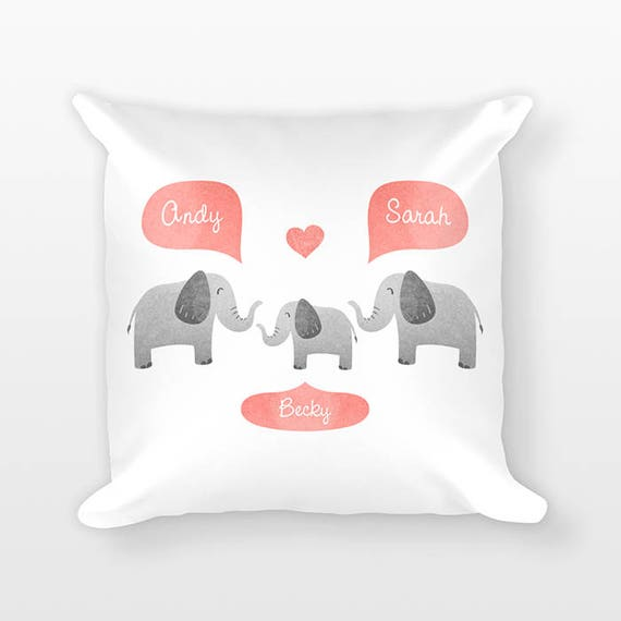 Elephant Nursery Pillow, Personalized Baby Gift, Shower Gift, Safari Nursery Decor, Pillow for Kids Room Decor, Animal Nursery Throw Pillow