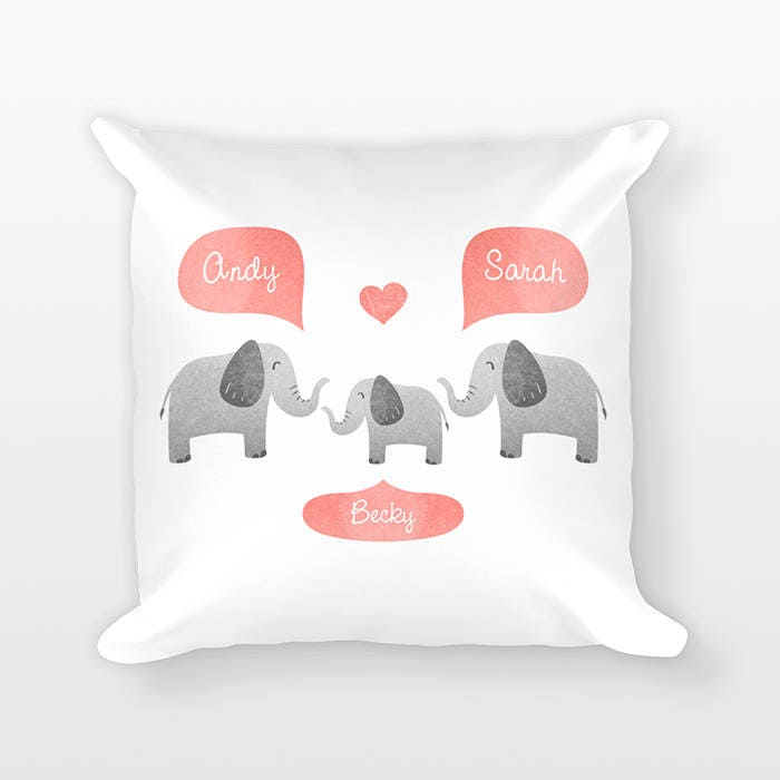 Elephant nursery pillow personalized baby gift shower gift elephant nursery pillow personalized baby gift shower gift safari nursery decor pillow for kids room decor animal nursery throw pillow negle Images