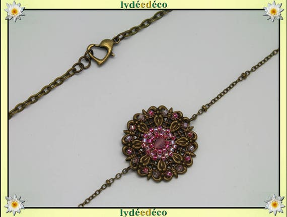Vintage flower headband prints and pastel pink glass beads bronze