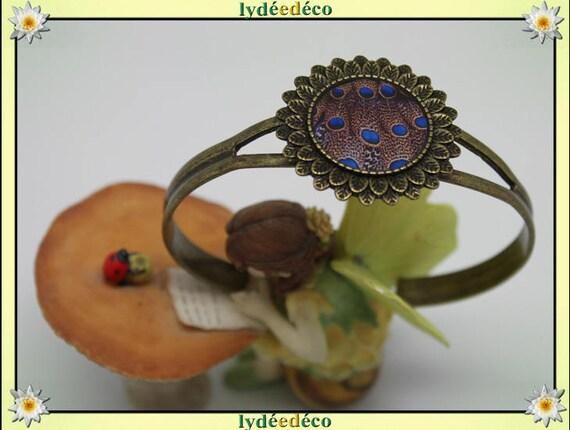 Resin bracelet feather peacock blue Brown bronze brass adjustable 20 mm