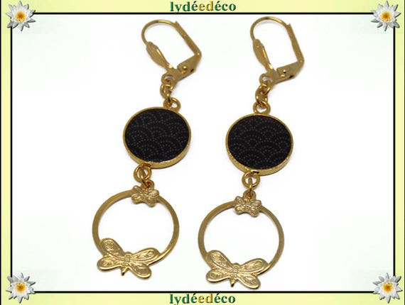 Earrings: SEIGAIHA Golden brass gold 24 carat 24 k waves sea Japan black white resin pendants print creole butterflies
