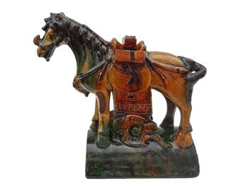 Chinese Horse Sancai Roof Tile Figure Green and Ochre Glazed Pottery