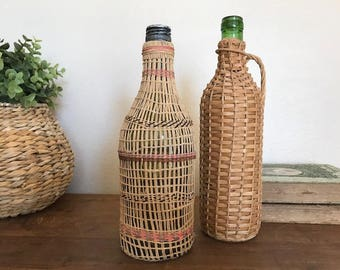 Pair of French Wicker Bottles