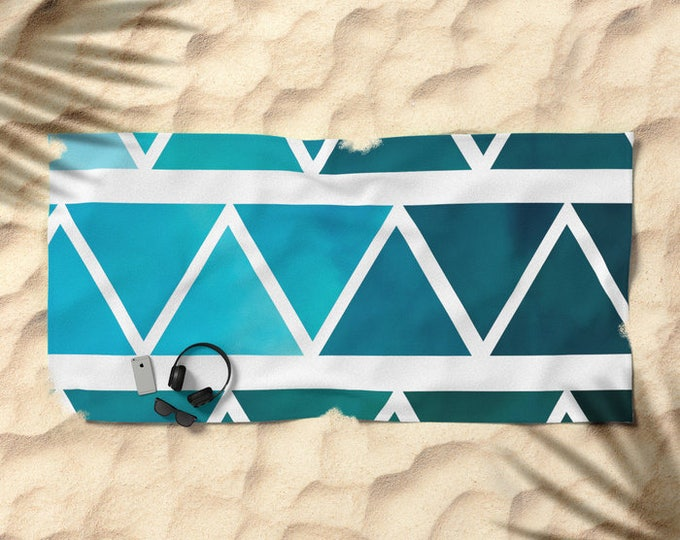 Beach Towel - Modern Blue Art - Over-sized  - Pool Towel - Microfiber - Cotton Terry Cloth - Made to Order