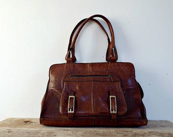 BROWN LEATHER HANDBAG - hobo bag, retro Italian bag, leather purse, messenger bag, clothing accessory, 2 handles, strong brown leather