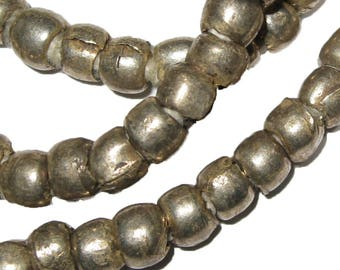 18 inches of 5 mm Ethiopian Metal Beads : Ethiopia African Bead Jewelry