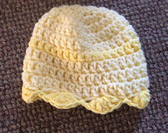 Infant to 3 months months crochet hat yellow on yellow