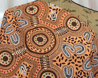 Australian Fabric--Aboriginal Fabric--Aboriginal Art--Cotton Fabric--Ethnic--Sacred Women's Song Yellow--Australian Fabric by the HALF YARD