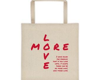 More Love Tote Bag--Red Lettering--Canvas Tote Bag--Natural Color--Grocery Tote--Book Bag--All Purpose Tote Bag--Valentine's Tote Bag