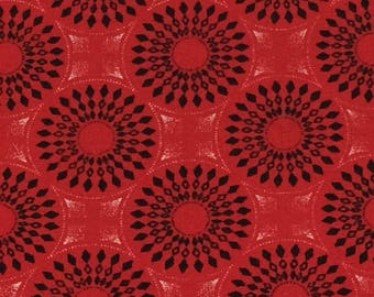 Shweshwe Fabric--African Fabric--South African Cotton Fabric--Da Gama Three Cats--Ethnic Fabric--Red and Black Suns--Fabric by the HALF YARD