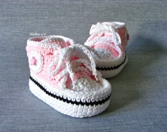 Baby pink crochet booties, baby crochet sneakers, baby summer booties, baby shoes, pink booties, baby foot wear, newborn baby girl booties
