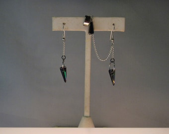 Spike earrings with attached cuff