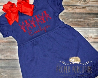 Crawfish lobster personalized embroidered navy blue ruffle dress