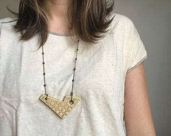 Tan Ceramic Necklace with Antiqued Bronze Chain