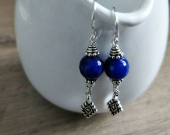 Vintage style blue Sapphire and Sterling Silver drop earrings