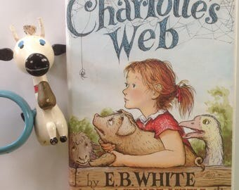 Charlotte's Web, E. B. White, Garth Williams, HCDJ, 1980 Edition, Read Aloud, Learn to Read, Fern, Wilbur, Charlotte, BW Drawings, Gift