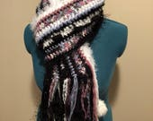 Freeform Sequin, Sparkles, and Chenille Crochet Scarf-White, Black, Pink, and Blue-Faux Fur Puffs-One of A Kind