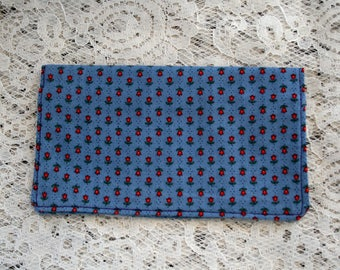 Checkbook Cover, Blue & Dainty Red Flower Fabric