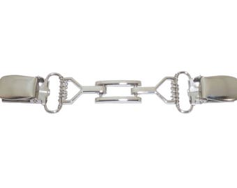 Silver Rectangle and Bars Cardigan Clip