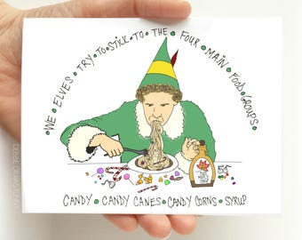 Christmas Cards Funny - Elf food Groups - Funny Holiday Card - Funny Cards for Christmas - Funny Christmas Cards, Holiday Cards, blank cards