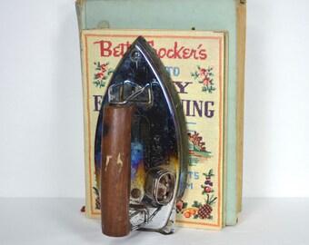 HandyHot Travel Iron, 1940 HandyPack Tourist Iron Bookend, Shabby Metal Book Holder, Office Desk Paperweight, Historical Conversation Piece