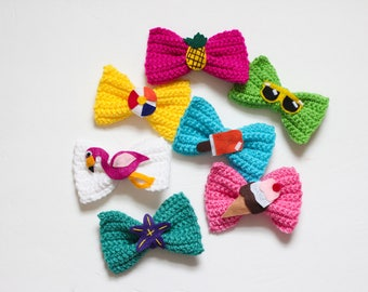 Crocheted Bows/ Pineapple Bow/ Flamingo bow/ Summer Bows/ Beach Bows/ Girls Bows/ Mermaid bow/ Starfish bow/ Ice cream bow/ Popsicle bow/