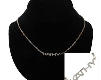Kathy Silver Tone Name Pendant Necklace Jewelry Vintage 1970s