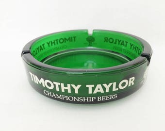 TIMOTHY TAYLOR EMERALD Green Beer Ashtray - Green Glass Vintage Ashtray - Timothy Taylor Championship Beer - Advertising Ashtray