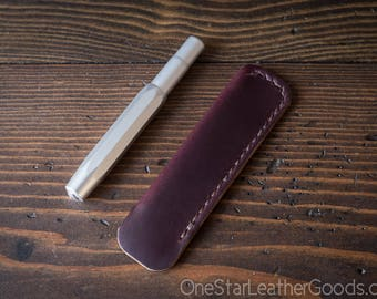 Kaweco Sport pen sleeve - hand stitched Horween Chromexcel leather - burgundy