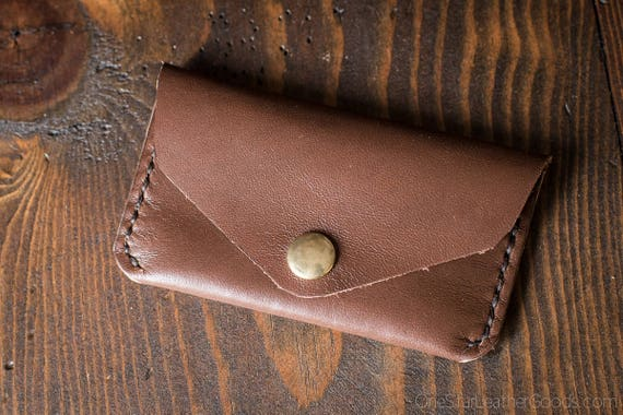 Coin pouch / wallet / business card case with snap, Horween leather - brown