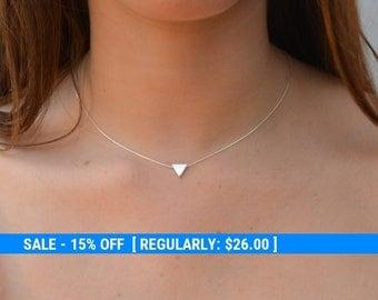 Triangle necklace,silver triangle,geometric necklace,silver necklace,sterling silver,gift for her,delicate necklace,triangle jewelry -21032
