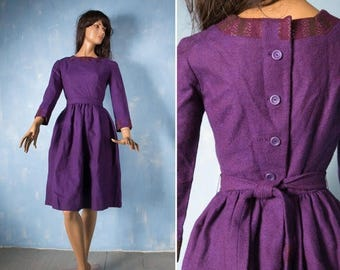 ON SALE 15% 50s vintage deep purple wool dress/  long leeves buttoned knee length winter  dress/ S small