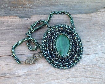 Christmasinjuly Green Malachite Stone necklace Embroidered beads Made crochet Glass beads Seed beads Large stone Shiny crystals Womens stunn