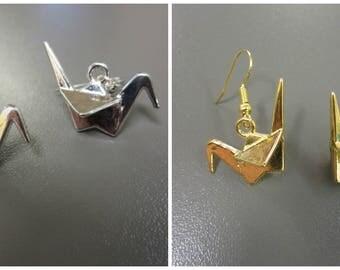 Crane Earrings, Origami Crane Earrings, Origami Style Earrings, Silver Coloured Bird Earrings, Bird Jewelry, Animal Jewellery,