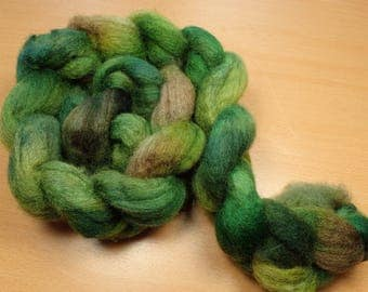 Lush Dark - BFL Roving in green and brown