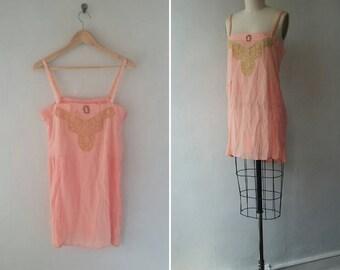 vintage lingerie | vintage lace lingerie | silk lingerie | floral lingerie | vintage 1930s pink floral silk lingerie | The Belford Step-in