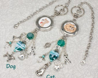 Dog Lover / Cat Lover / Teal Heart Pet Photo Memorial Rear View Mirror Charm / Car Accessories / Dog Locket / Cat Locket / Pet Loss Gift