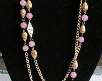Stunning Long Necklace, Pink and Matte Golden, Measures @ 55 inches, So 80s, Pink Beads, Wrap around or Leave Long ~ BreezyTownship.etsy.com