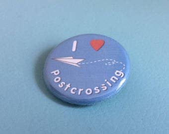 I Love Postcrossing Pinback Button Badge 1.25 inch Flair Magnet